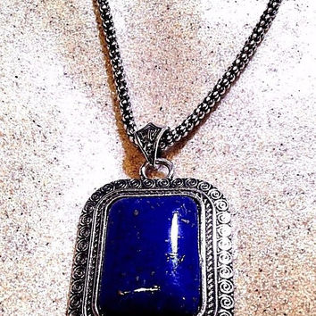Vintage Handmade Silver Finish Genuine Blue Lapis Lazuli Necklace