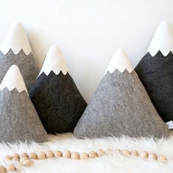Mountain Nursery Decor, Mountain Pillows, Monochrome nursery decor, baby nursery decor, Mountain Plushies, Mountain Softies,