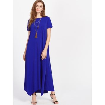 Hanky Hem Tent Dress With Hidden Pocket Blue