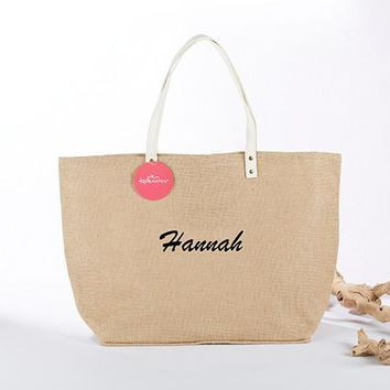 Natural Jute Tote Bag (Personalization Available)