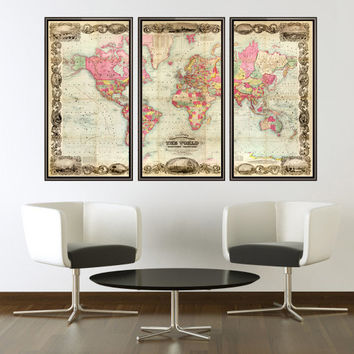 Old World Map Atlas Vintage Antique 1854 Mercator projection (3 pieces)