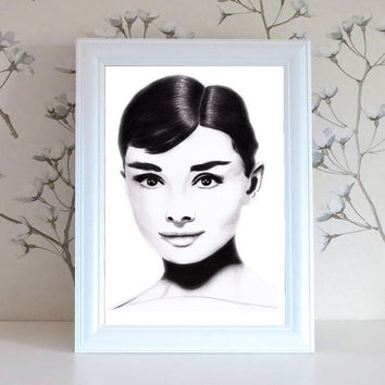 Audrey Hepburn Pencil drawing Print