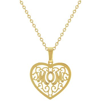 14k Gold Plated Mom Mother Heart Filigree Love Pendant Necklace 19""