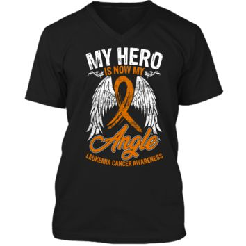My Hero Is Now My Angel Leukemia Cancer Awareness T-shirt Mens Printed V-Neck T