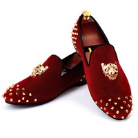 Harpelunde Men Rivets Shoes Animal Buckle Dress Shoes Red Velvet Loafers Size 7-14