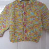 YELLOW Hand Knitted Cardigan for 0 - 6 months (kids baby present girls new born