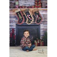 Fireplace Stockings Christmas Backdrop - 7690