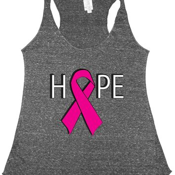 Women's HOPE Breast Cancer Awareness Tri Blend Tank CHARCOAL