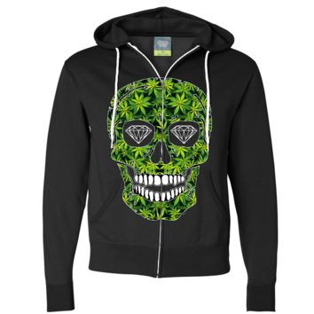 Diamond Eyes Pot Leaf Skull Zip-Up Hoodie