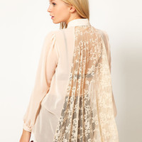 Lace Pleat Back Chiffon Blouse