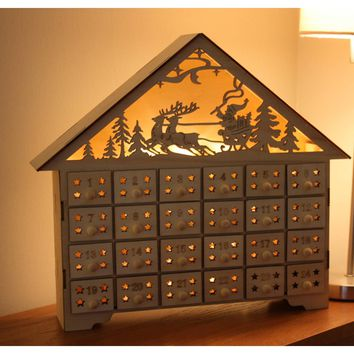 Buy Natural Wood Fretwork Light Up House Advent Calendar