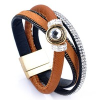 Characteristic Faux Leather Rhinestone Layered Bracelet For Women