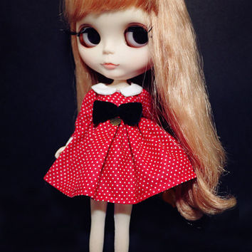 Blythe Vintage Polka Dot Red Dress With Bow on Front