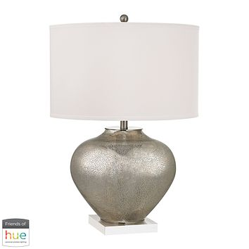 Edenbridge Antique Mercury Glass Table Lamp with LED Nightlight - with Philips Hue LED Bulb/Dimmer