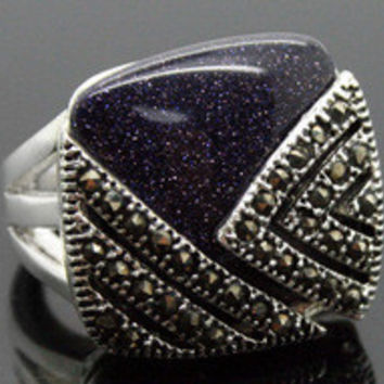 Free shipping RARE VINTAGE STERLING SILVER RING MARCASITE BLUE GOLDSTONE HUGE RING SZ 7/8/9/10