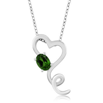 Green Chrome Diopside 925 Sterling Silver Pendant With Chain