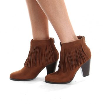 On The Fringe Ankle Boots Cognac