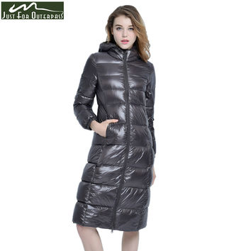 2017 New High-End Brand Ladies Winter Warm Coat Women Ultra Light 640 Filling Prower Long White Duck Down Jacket Women Jackets