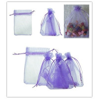 25pcs 7cmx9cm Purple Organza Jewelry Gift Pouch Bags Wedding X-mas Party Favor [7982888327]