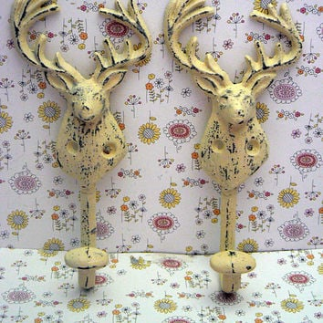 Deer Head Pair of Hooks Antlers Rack Cast Iron Cream Off White Shabby Elegance Wall Hook Set of 2 Nursery Cabin Hunter Rustic Man Cave Decor
