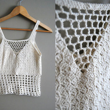 The String Bean - Vintage 70s White Crochet Crop Tank Cutout Top Shirt Summer Boho