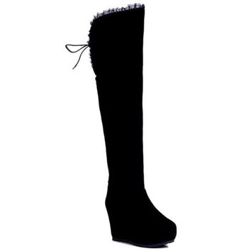 Back Stringed Thigh Boots With Lace Design