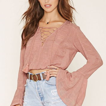 Lace-Up Peasant Top | Forever 21 - 2000186160