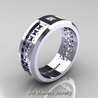 Art Masters Mens Modern 10K White Gold Princess Diamond Wedding Band R384BM-10KWGD