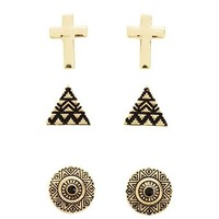 Cross, Pyramid & Medallion Earring Trio: Charlotte Russe