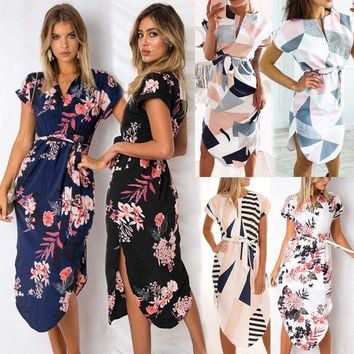 Women's Short Sleeve Floral Midi Dress Holiday Summer Party Long Maxi Sundress