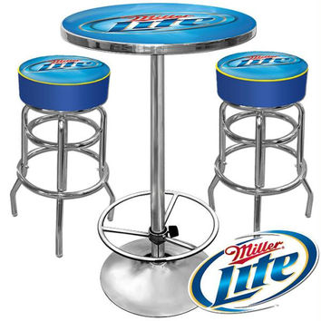 Ultimate Miller Lite Gameroom Combo - 2 Bar Stools and Table