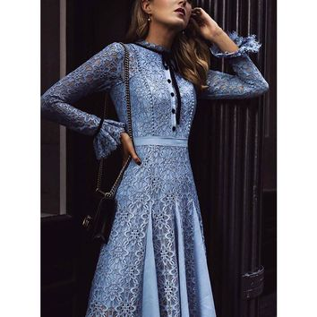 Kate Middleton High Quality Runway Christmas 2018 Spring  Summer New Fashion Women Party Office Vintage Lace Long-Sleeved Dress
