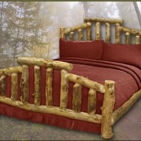 Mountain Cottage Rustic Aspen Log Bed - Queen Size