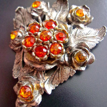 Dress Fur Sweater Art Deco Clip LITTLE NEMO, Orange Topaz Paste Stones, Floral Motif ...signed Antique