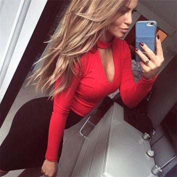 2017 Deep V-neck Women Jumpsuits Three Color Plus Size Rompers Sexy Skinny Female Bodysuit 72170
