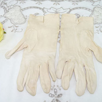Vintage Empire Made Gloves, Ecru or Cream, Size 7, Costume Gloves, Mid Century, upcycling, Garden Party, Prom, Wedding, Bride, Bridesmaid,