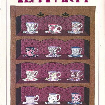 Tea Party Applique Quilt Pattern from Leman Publications, From 1992, UNCUT, Vintage Pattern, Home Quilting Decor, Caroline Reardon Design