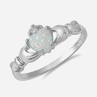 Sterling Silver Heart Shaped Opal Claddagh Ring Sizes 3 to 10 | AihaZone Store