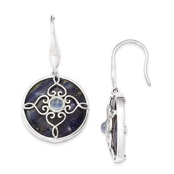 Sterling Silver Sodalite & Blue Topaz Dangle Earrings