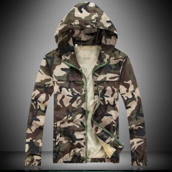 Sun clothing men summer ultra-thin breathable UV-resistant couple quick-drying camouflage skin windbreaker outdoors