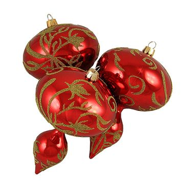 """3ct Red and Gold Beaded Floral Shatterproof Christmas Finial Ornaments 5"""""""