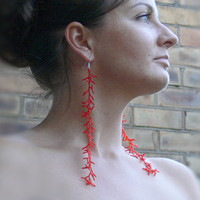 Long Red  Earrings. Extra Long  Earrings,Beaded, Coral Style