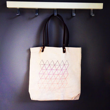 Ombre Sashiko Canvas Tote Bag