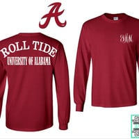 Roll Tide - Long Sleeve Monogram Unisex T-Shirt - University of Alabama - BAMA - Monogram