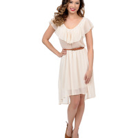 1970s Style Ivory Belted Ruffle High-Low Flare Dress