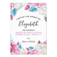Will You Be My Bridesmaid | Pink Blue Floral Chic Card