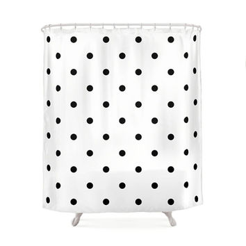 2 Black and White Color Options Polka Dots Shower Curtains, Bathroom Shower Curtain, Minimal Pattern Design, Home Decor, Vintage Art