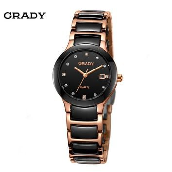 Luxury Ceramic Water Resistant Women Wrist Watch,Free Shipping Top Quality Women Steel Ceramic Rhinestone watches