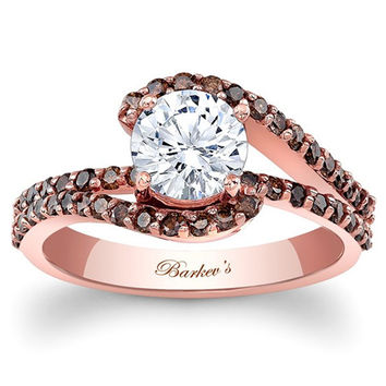 Barkev's Swirl Whisper Halo Cognac Diamond Engagement Ring