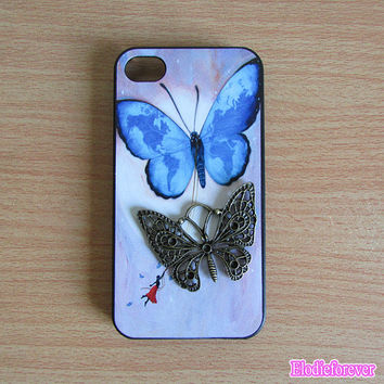 Butterfly iphone 4 Case,Blue Butterfly iphone Case,Blue Butterfly iphone 4s case,Cute Iphone 4 case,Designer iPhone case,D005
